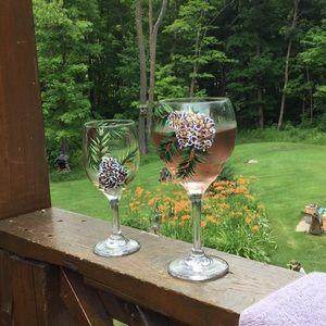 Hand Painted Pine Cone Wine Glasses Boho🍷 🍇